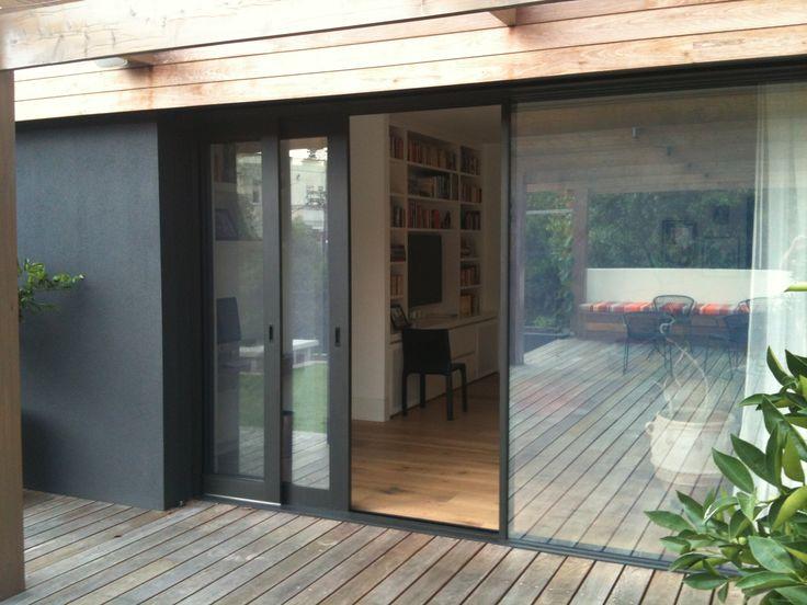 Cavity sliding external glass and screen doors.