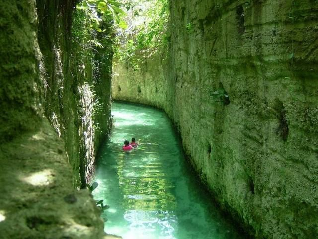 Underground rivers at Xcaret on the Mayan Riviera In Mexico