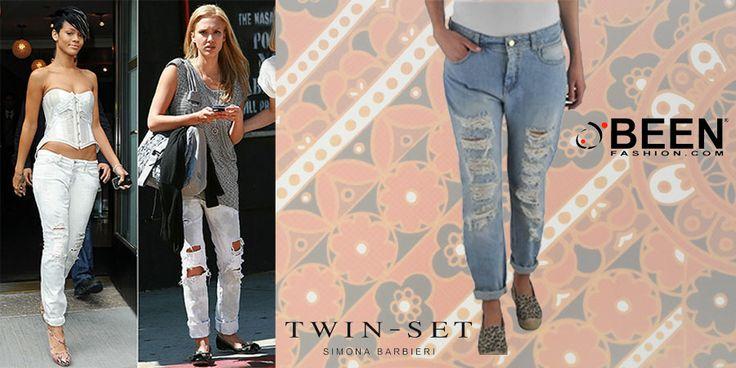 Comodi ed estremamente glamour per  Rihanna e Jessica Alba i jeans strappati sono il #Musthave del momento. Trova quelli #twinset su #Beenfashion!  http://www.beenfashion.com/it/catalog/product/view/id/20559/s/twin-set-jeans/category/141/?utm_source=pinterest.com&utm_medium=post&utm_content=twinset-jeans&utm_campaign=post-prodotto