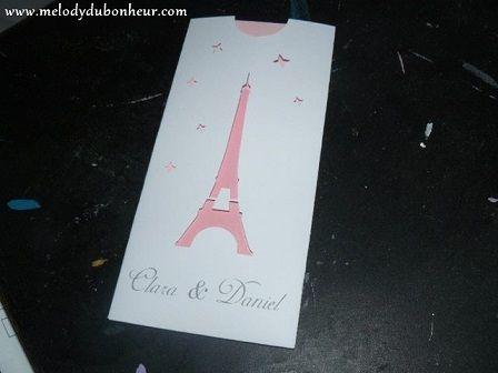 Faire part  pour mariage thème Paris