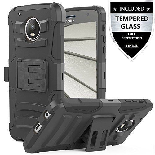 Moto Z2 Play Case With Tempered Glass Screen Protector Kickstand Belt Clip Cover #MotoZ2PlayCase