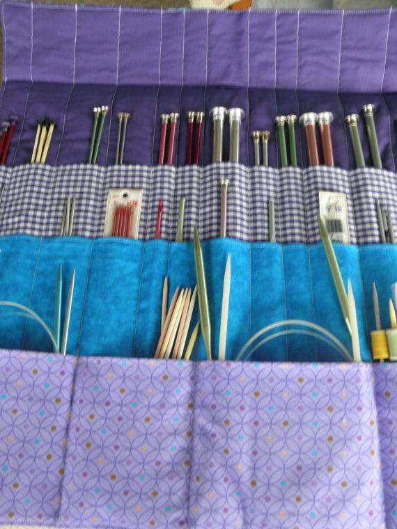 Knitting Needle Organizer  30 Pockets  Beautiful by CilesBoutique