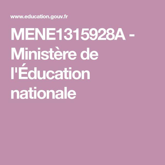 MENE1315928A - Ministère de l'Éducation nationale