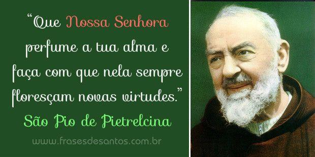 """""""Que Nossa Senhora perfume a tua alma e faça com que nela sempre floresçam novas virtudes."""" São Pio de Pietrelcina (Padre Pio) #sãopiodepietrelcina #padrepio"""