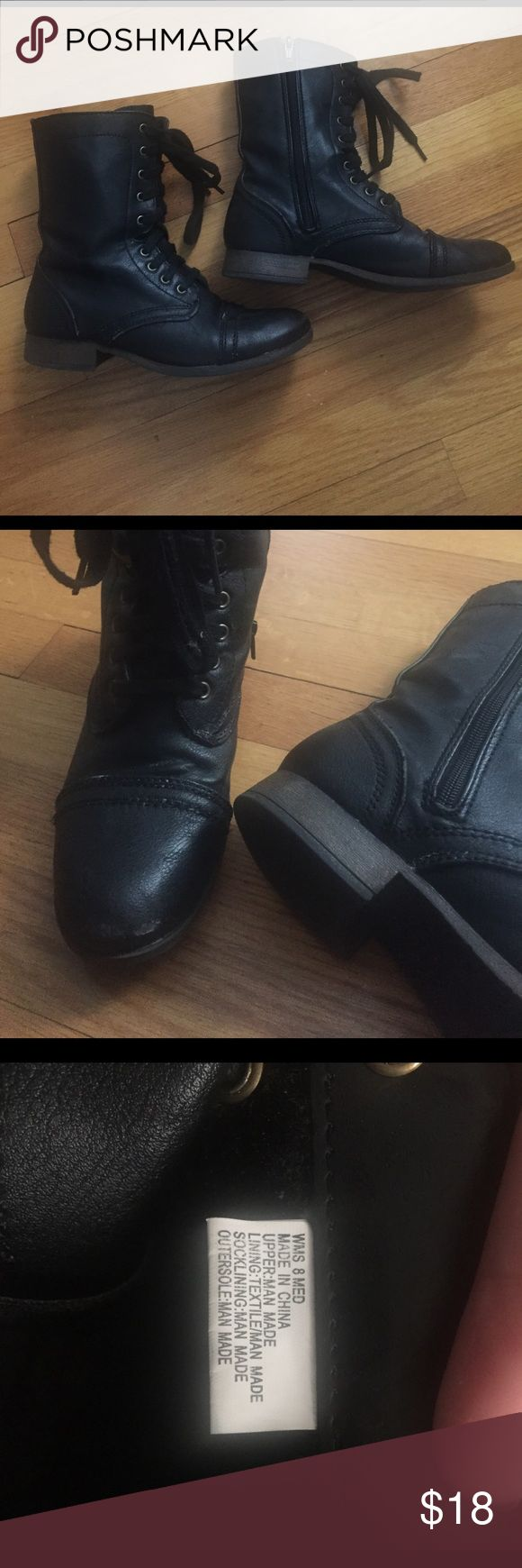 """Black Candies Boots Black Candies Boots. Regular wear, some scuff marks but blends in with the """"combat boot"""" style. Size 8. No trades please 🤗 Candie's Shoes Combat & Moto Boots"""