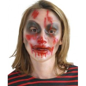 Masque Halloween transparent femme, Masque mort-vivant femme, Masque zombie style walking dead femme, Halloween, fêtes.