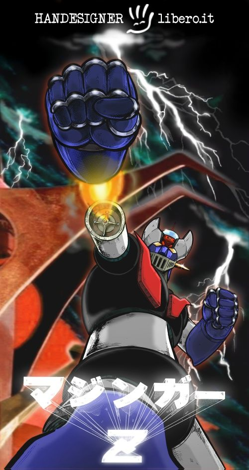Mazinger Z while he shoots his Rocket Punch