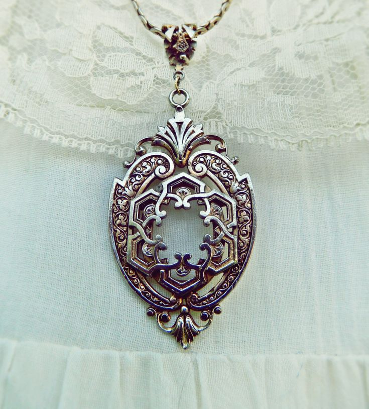 Vintage Pendant Statement Necklace /Long Gold Filigree Necklace /Ornate Layering Gypsy Jewelry /Bohemian Necklace / Victorian Necklace. $19.00, via Etsy.