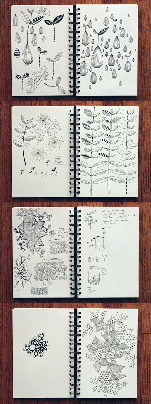 How about a peek at my latest sketchbook shenanigans? I've been doing some brainstorming for #5 and #11 on my Twelve by 2012 list.