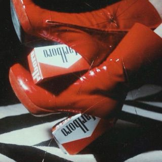 Red Patent Leather Boots + Marlboro