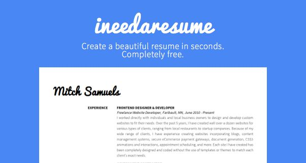 Ineedaresume Is A Completely Free Tool To Create A Beautiful