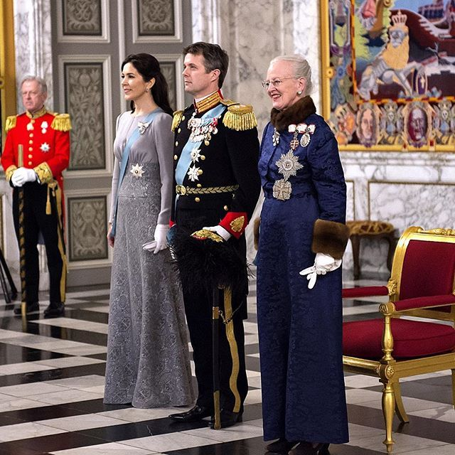 On January 3, 2016, Queen Margrethe II, Crown Princess Mary and Crown Prince Frederik of Denmark attend a New Year's Levee held by Queen Margrethe of Denmark for Diplomats at Christiansborg Palace in Copenhagen, Denmark.