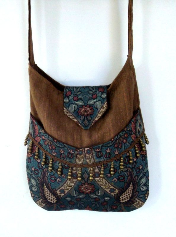 Brown and Teal Gypsy Bag with Brass Beads by piperscrossing