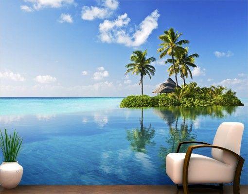 Selbstklebende Tapete - Fototapete Tropisches #Paradies #Sommer #Sonne #Sonnenschein #Meer #Strand #Küste #Urlaub #Fernweh #Wandgestaltung #Tapete