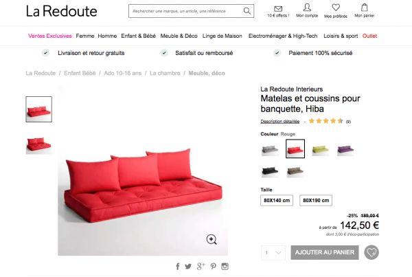 Matelas et coussins Hiba de La Redoute Intérieurs à utiliser pour un canapé en palette