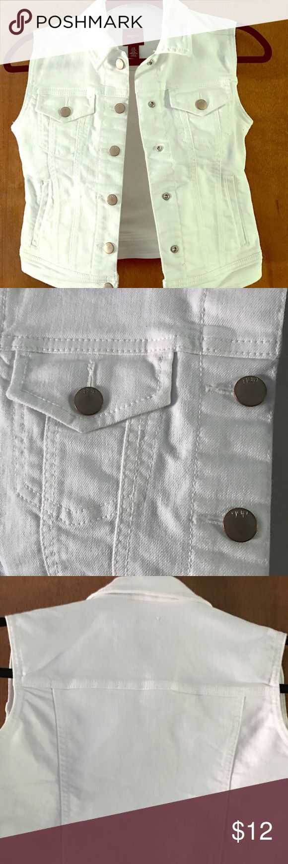 ! Gap Kid XL white jean vest-worn a few times. 😎 Cleaning out my daughters closet!  White jean vest with silver metal buttons. GAP Jackets & Coats Vests