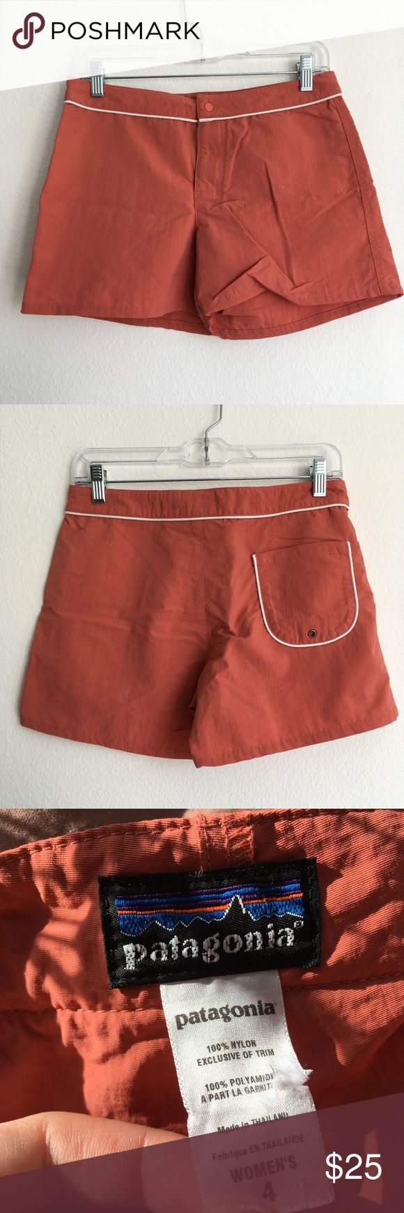 """Patagonia // Retro Board Shorts Retro nylon Patagonia board shorts. Salmon in color. Single pocket at back. Snap and zip closure. Excellent used condition, no flaws, non-smoking home.  Measurements laid flat - Waist 15"""" - Rise 9 - Inseam 4""""  No trades, please :) A4 Patagonia Shorts"""