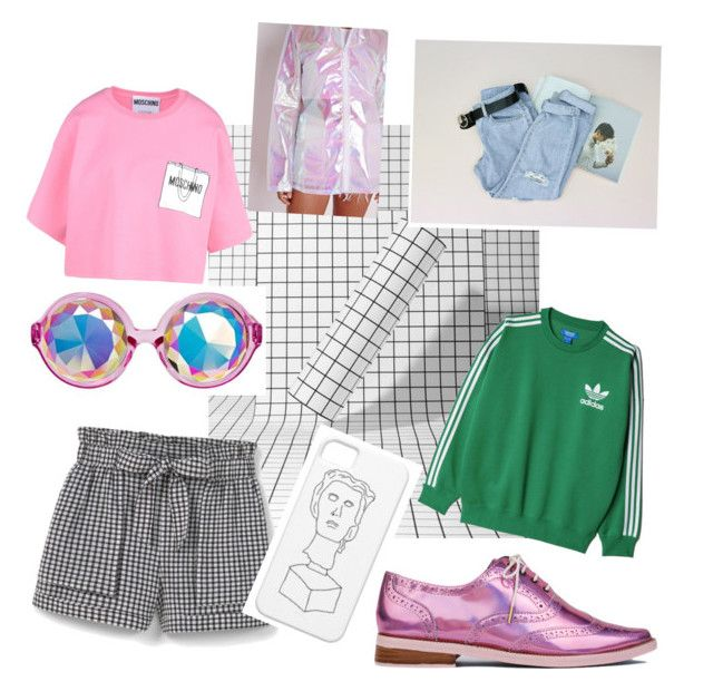 Holograph by snuuy on Polyvore featuring polyvore, fashion, style, adidas Originals, Moschino, MANGO, Irregular Choice, clothing, vaporwave and aesthetic