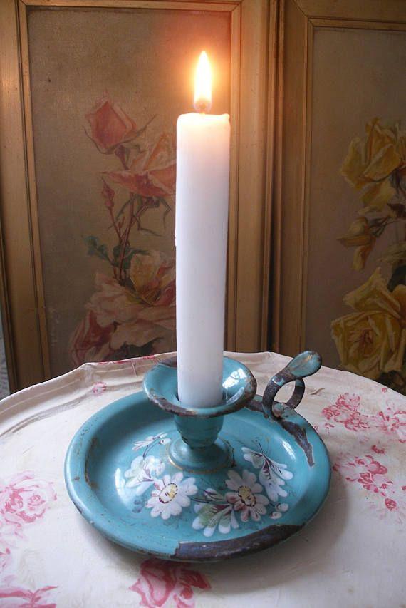 Francese antichi smalto candela bastone, bastone di camera, supporto di candela