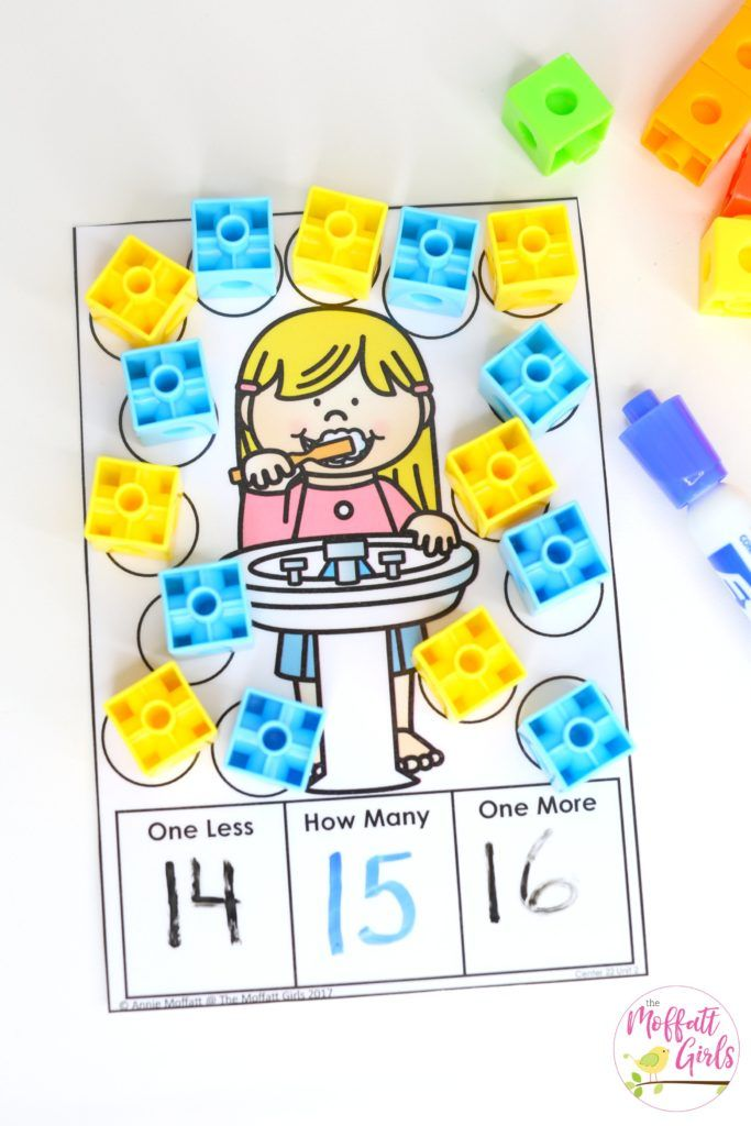Use any kind of manipulatives for this hands-on kindergarten math activity! One more and one less with teen numbers.