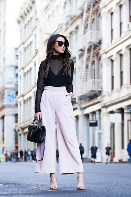 New York :: Wide-leg trousers & Sheer top