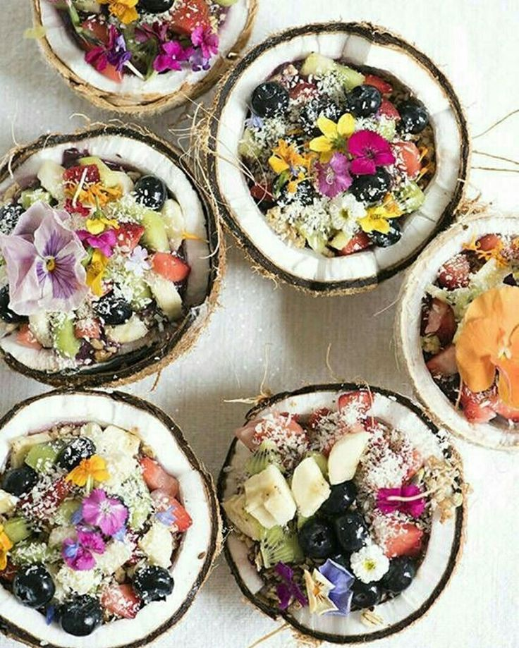 Make Coconut Bowls with this spring edible flower dish recipe.