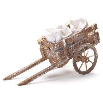Carretto con sacchi di farina presepe Napoli 12x20x8 cm   vendita online su HOLYART