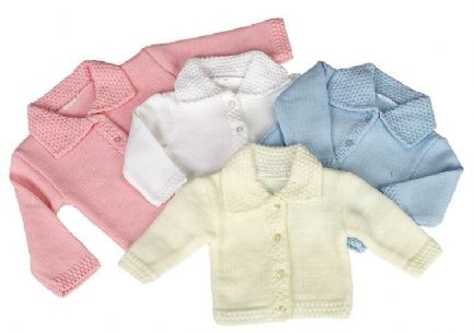 Lovely knitted baby jacket. This beautiful knitted jacket has a 4 button fastening down the front and is made from 100% acrylic. A nice jacket with crocheted collor, cuffs and trim. Available in white, cream, pink or blue. In sizes Newborn, 0-3 Months and 3-6 Months. Great with any outfit.
