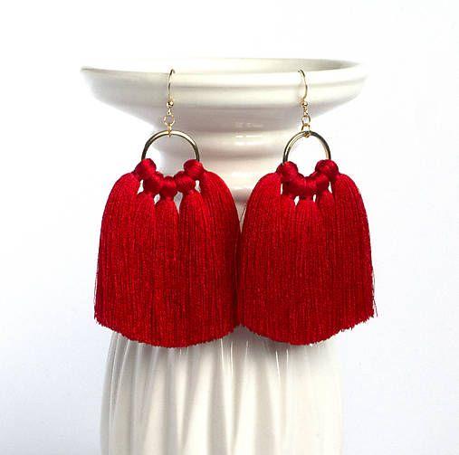 Červené strapcové náušnice - vianočné