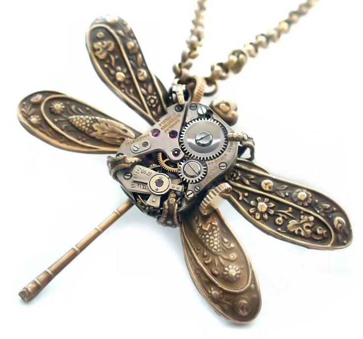 Is Steampunk Jewelry A Craft Or An Art: SteamPunk Clockwork Dragonfly Jewelry Art