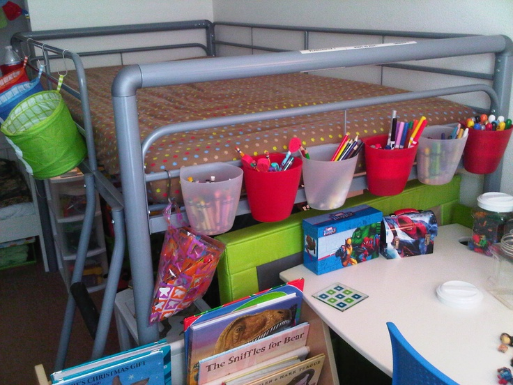 Tiny Box Room Ikea Stuva Loft Bed Making The Most Of: Hanging Ikea Bygel Containers & Kusiner Storage Baskets W