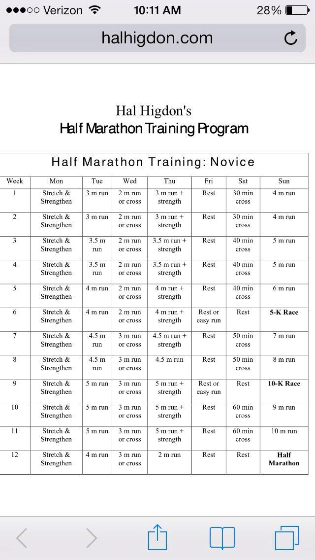 12-week 1/2 marathon training schedule