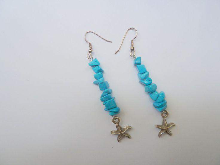 Handnade earrings,dangle earrings,blue earrings,energy earrings,turquoise chips earrings by under25dollarshop on Etsy