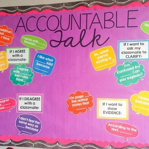 I've had an accountable talk bulletin board for the last few years and we refer to it all the time! It really holds us accountable both in conversations and when writing and showing evidence from the text! I put a link to the resource in my profile if you need something like this for your classroom!