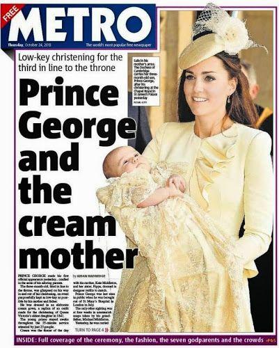 Kungligheter: Prins Georges dop på dagens brittiska tidningar