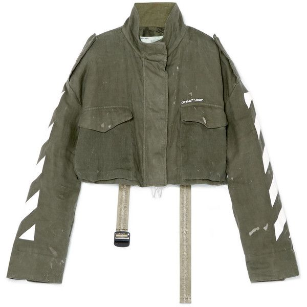 Off-White Cropped printed linen jacket (£1,020) ❤ liked on Polyvore featuring outerwear, jackets, army green, green military jackets, cropped military jackets, green military style jacket, zip jacket and off white jacket