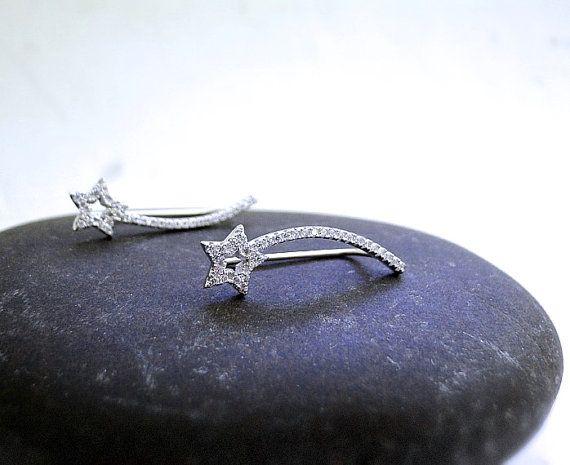 Shooting Star ear pins,Sterling Silver earrings, star ear pins, cubic zirconia earrings, pave diamond ear pin, silver earrings, gift for her