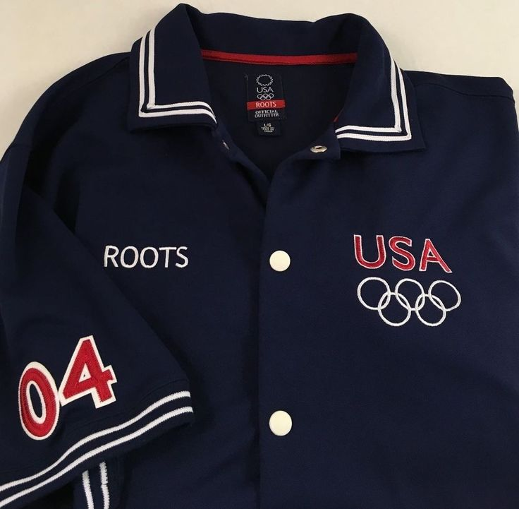 ROOTS USA 2004 Athens Large Men's Short Sleeve Snap Button Warm Up Jersey Navy  #Roots #USA