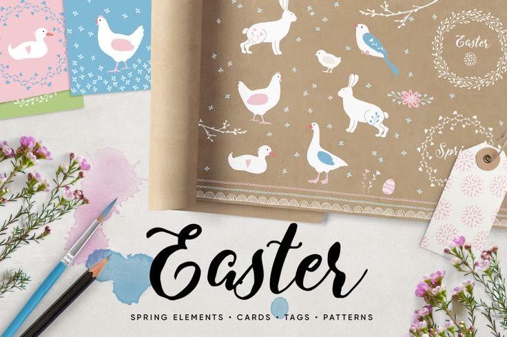 Tabita's worldEaster and Springtime set. Illustrations, patterns, gift tags and greeting cards.