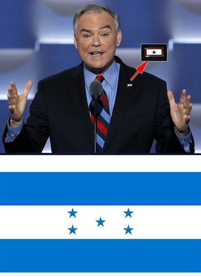 Vice presidential candidate Sen. Tim Kaine wore a pin (inset) representing Blue Star Families, with a single blue star on a white background bordered with red. The NC GOP mistakenly tweeted that the pin was the flag of Honduras (bottom).