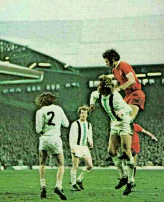 Liverpool 3 B. M 'gladbach 0 in May 1973 at Anfield. John Toshack battles in the air in the UEFA Cup Final, 1st Leg.