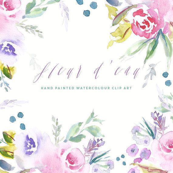 Flores acuarela imágenes prediseñadas fleur d ' por CreateTheCut