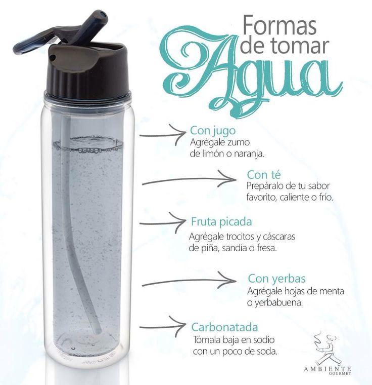 Sabemos que hay q tomar 8 vasos de agua al día, pero a muchas personas no les gusta mucho este líquido! Estas son algunas ideas para ponerle sabor y lograr la meta.