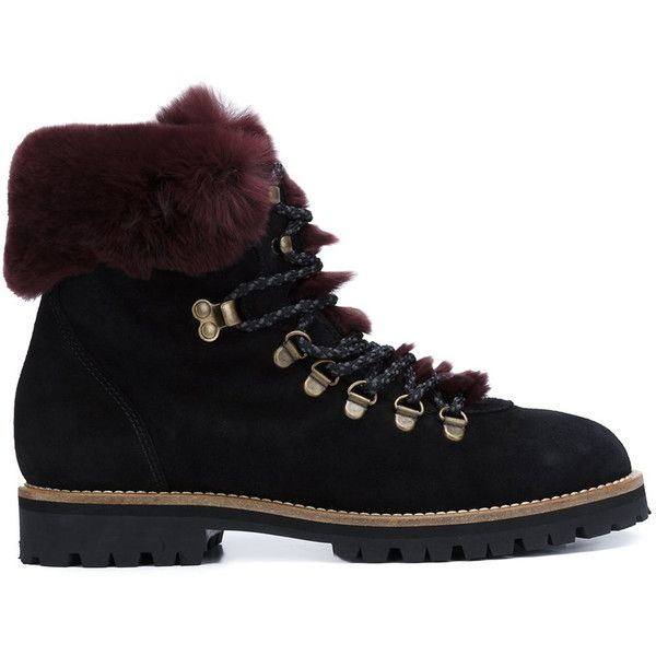 Mr & Mrs Italy Rabbit Fur Hiking Boots ($560) ❤ liked on Polyvore featuring shoes, boots, all shoes, kirna zabete, kohl shoes, hiking boots, small heel shoes, burgundy shoes and low heel boots