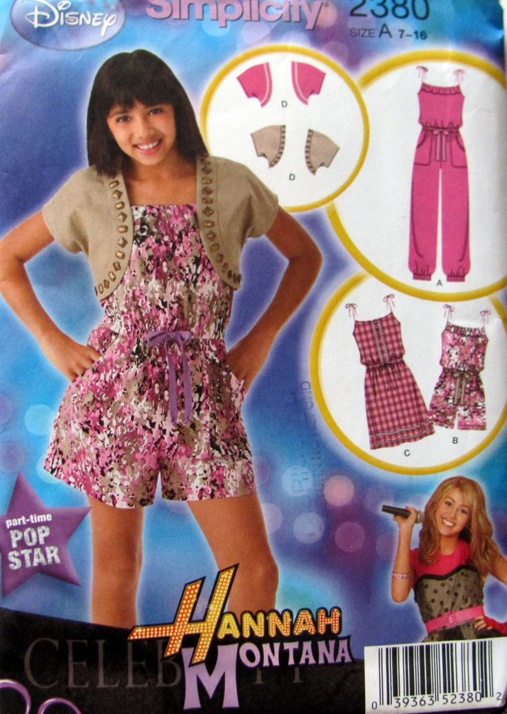 Girl's Jumpsuit in two Lengths, Dress and Shrug Sewing Pattern , Simplicity Pattern 2380, Hannah Montana, Girls Sizes 7 to 16, Uncut,  2010 by OnceUponAnHeirloom on Etsy