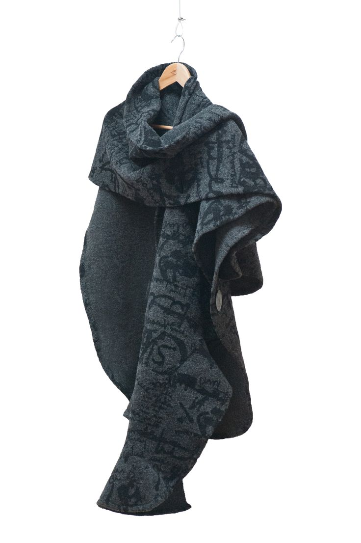 Sculpted wrap with printed italian wool fabrics.  No visible seams.  Artist & Designer -- Kitty Chung O'Kane