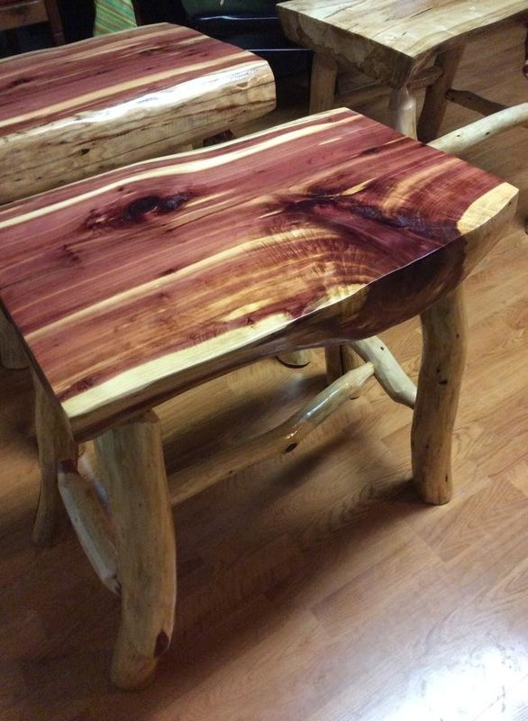 Red Cedar Log End Table