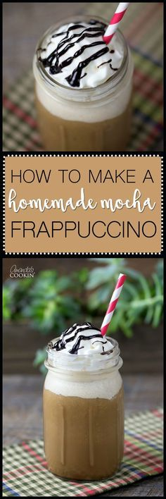If you like Starbucks blended drinks, you will love this homemade mocha frappuccino! Full of mocha flavor and topped with fresh whipped cream.