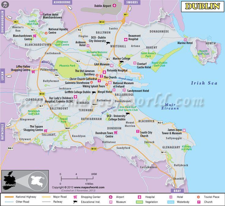 The Best Dublin Map Ideas On Pinterest Roots Ireland Dublin - Ireland major cities map