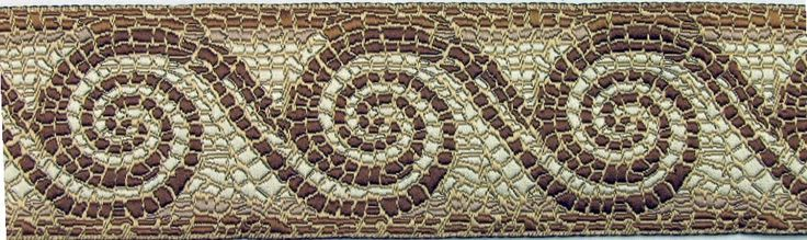 ancient mosaic wave jacquard trim in brown and tan on